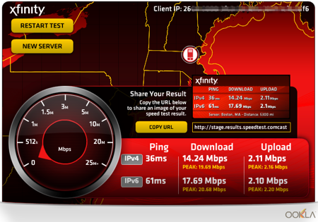 Comcast XFinity Speed Test