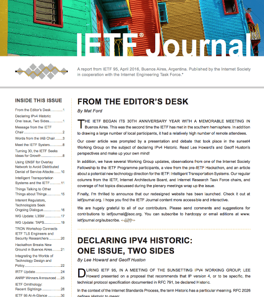 New IETF Journal Issue and Website Thumbnail