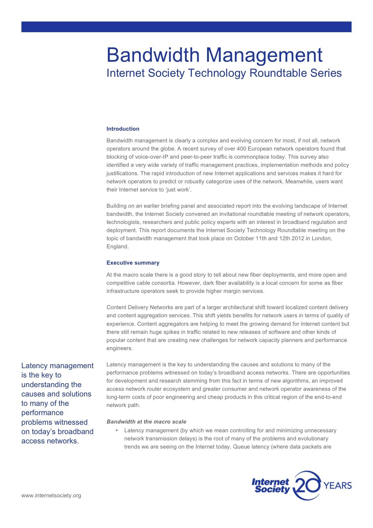Bandwidth Management: Internet Society Technology Roundtable Series Thumbnail