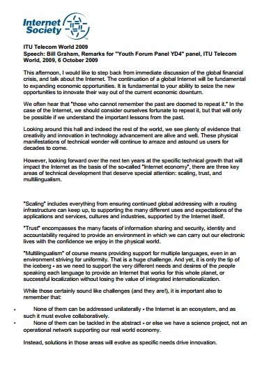 "Bill Graham, Remarks for ""Youth Forum Panel YD4"" panel, ITU Telecom World, 2009 Thumbnail"