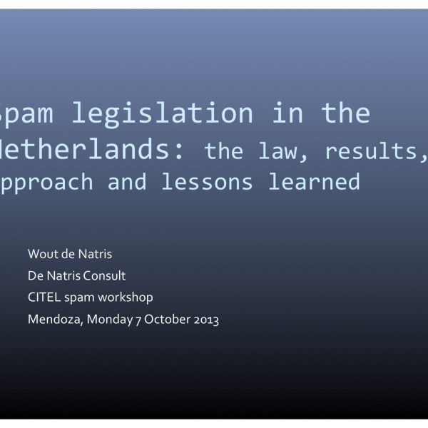 Spam Legislation in the Netherlands: the Law, Results, Approach and Lessons Learned Thumbnail