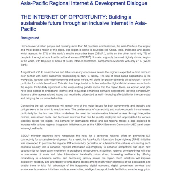 Asia-Pacific Regional Internet & Development Dialogue Programme Paper