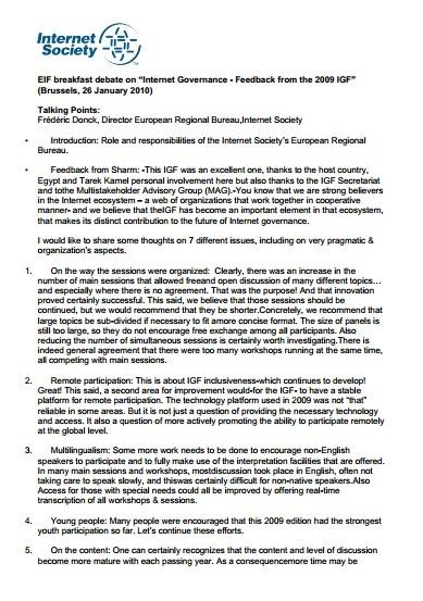 "EIF breakfast debate on ""Internet Governance – Feedback from the 2009 IGF"" Thumbnail"