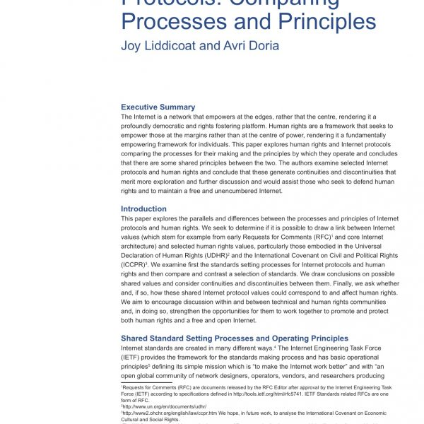Human Rights and Internet Protocols: Comparing Processes and Principles