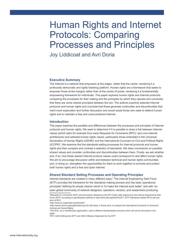 Human Rights and Internet Protocols: Comparing Processes and Principles Thumbnail