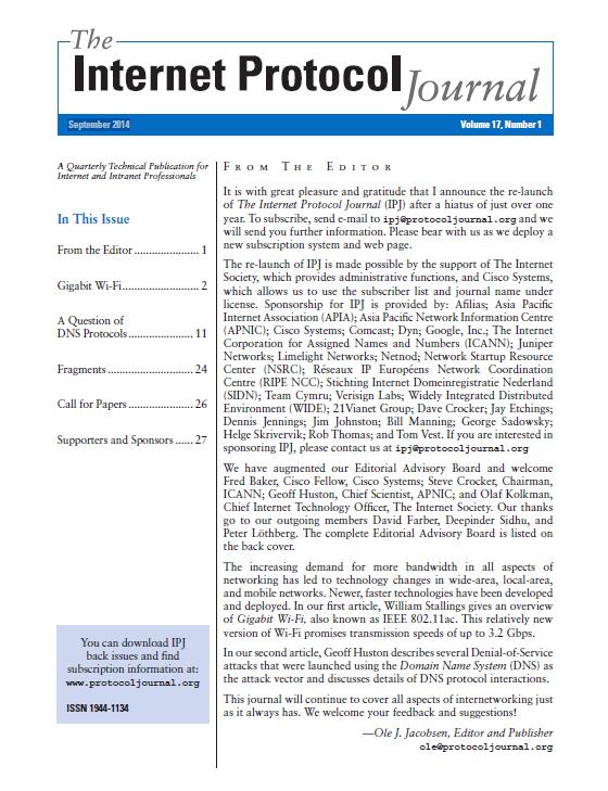 Internet Protocol Journal, Volume 17, Number 1, September 2014 Thumbnail