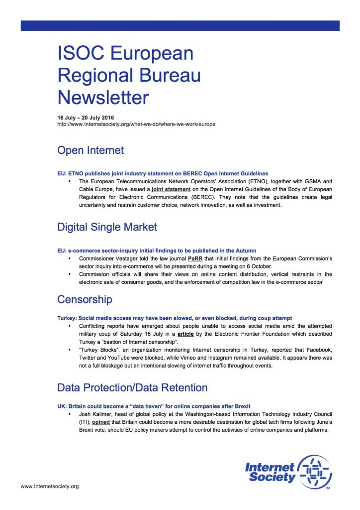 EU Issues Overview – 16 July – 20 July 2016 Thumbnail