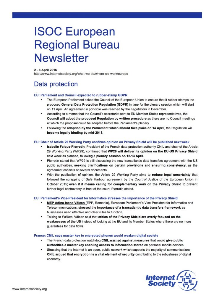 EU Issues Overview – 2 – 8 April 2016 Thumbnail