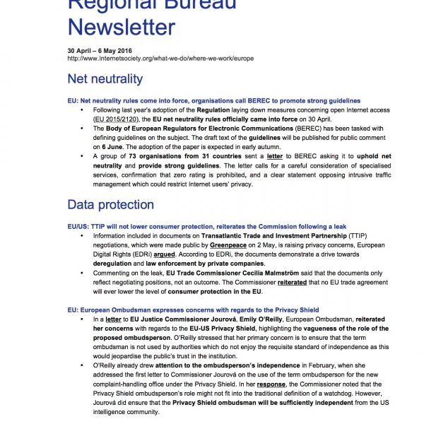 EU Issues Overview – 30 April – 6 May 2016