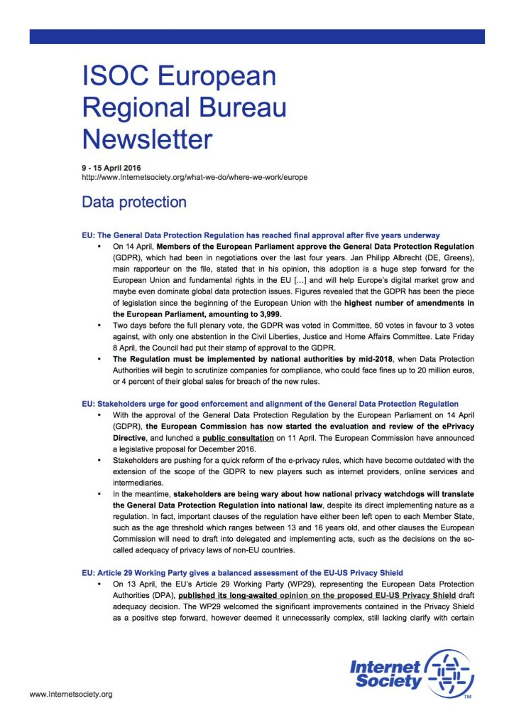 EU Issues Overview – 9 – 15 April 2016 Thumbnail