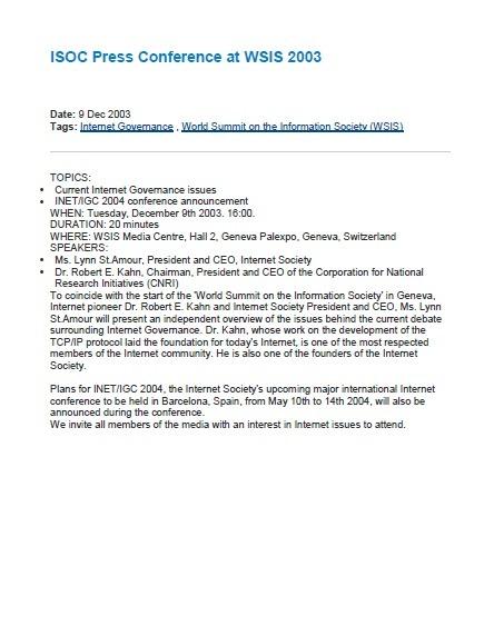 ISOC Press Conference at WSIS 2003 Thumbnail