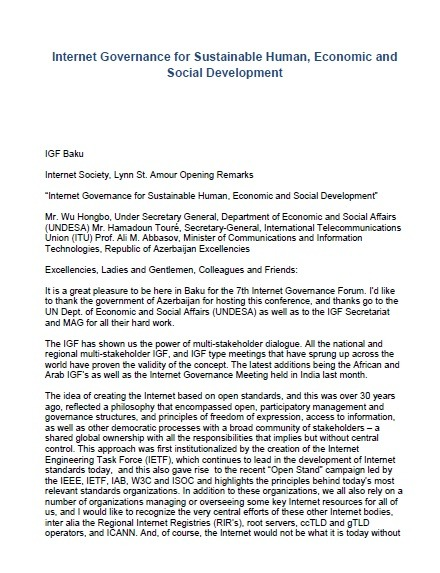 Internet Governance for Sustainable Human, Economic and Social Development Thumbnail