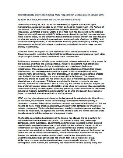 Internet Society intervention during WSIS Prepcom 2 Thumbnail
