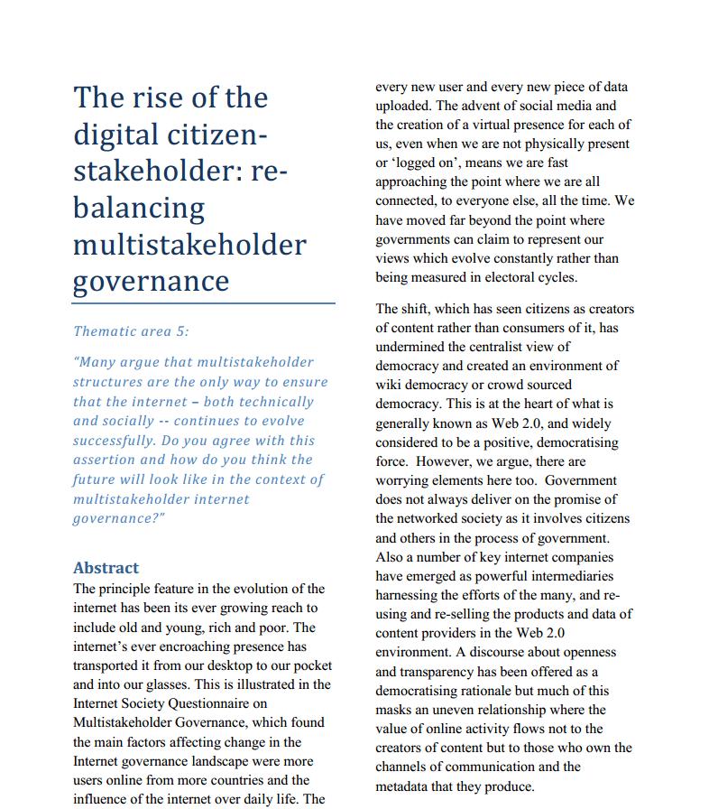 The Rise of the Digital Citizen Stakeholder : Re-balancing Multistakeholder Governance Thumbnail