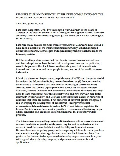 Remarks made by Lynn St. Amour at the Open Consultation of the WGIG Thumbnail