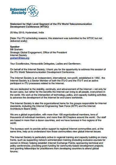 Statement for High Level Segment of the ITU WTDC Thumbnail