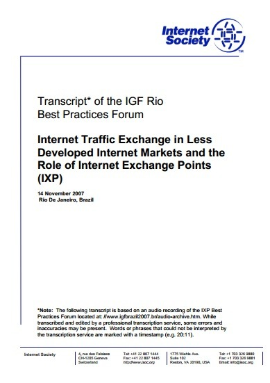 Transcript* of the IGF Rio Best Practices Forum