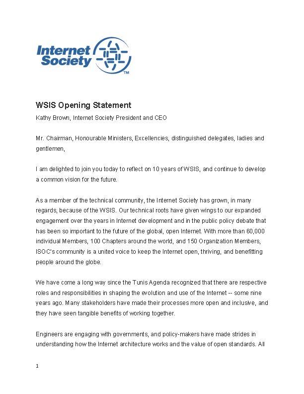 Kathy Brown WSIS Opening Statement Thumbnail