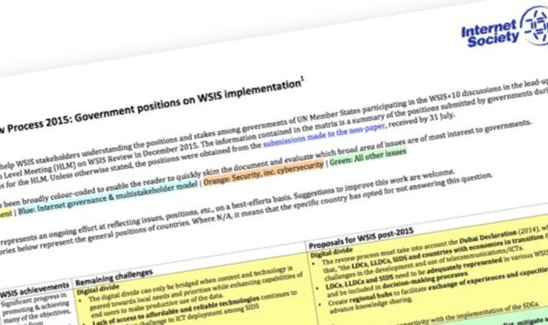 Decoding the WSIS message - ISOC releases matrix of countries' positions