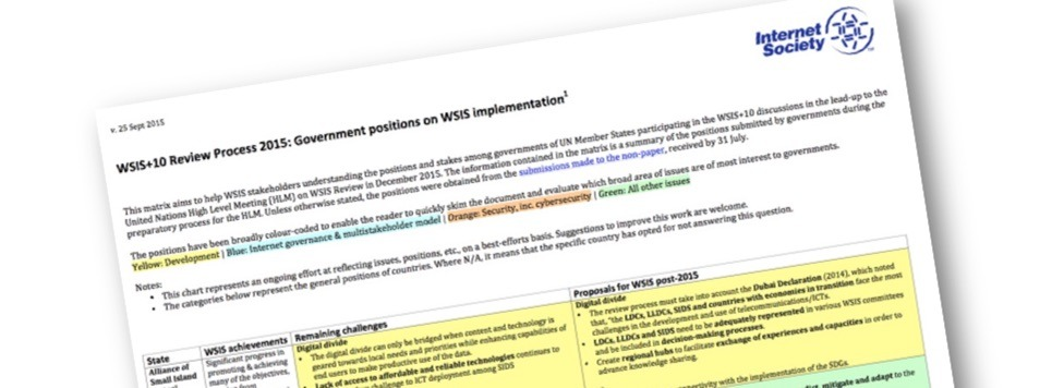 Decoding the WSIS message – ISOC releases matrix of countries' positions Thumbnail