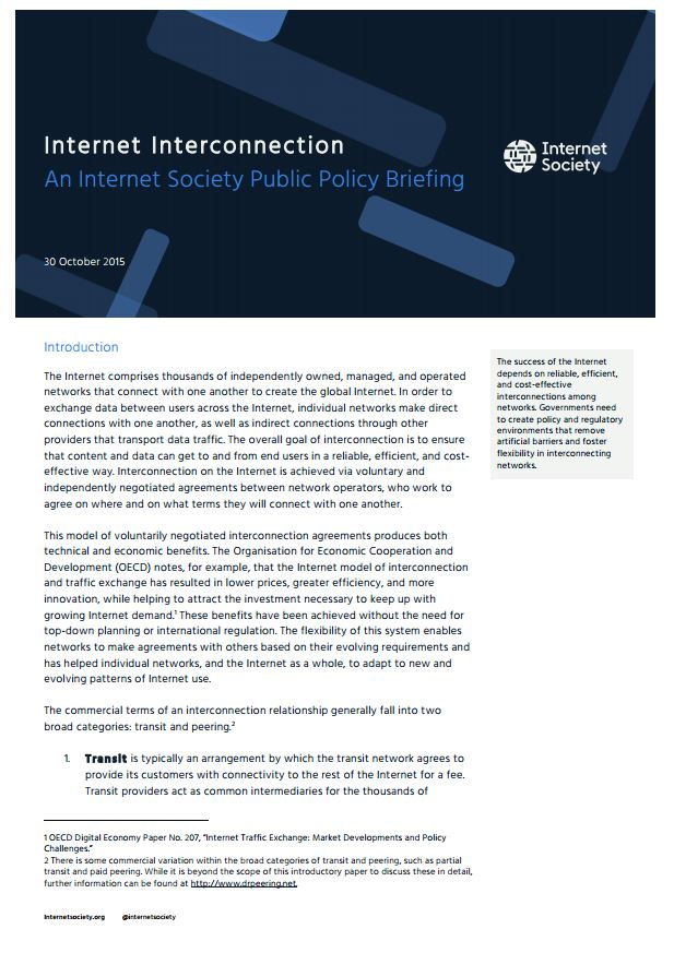 Policy Brief Internet Interconnection Internet Society