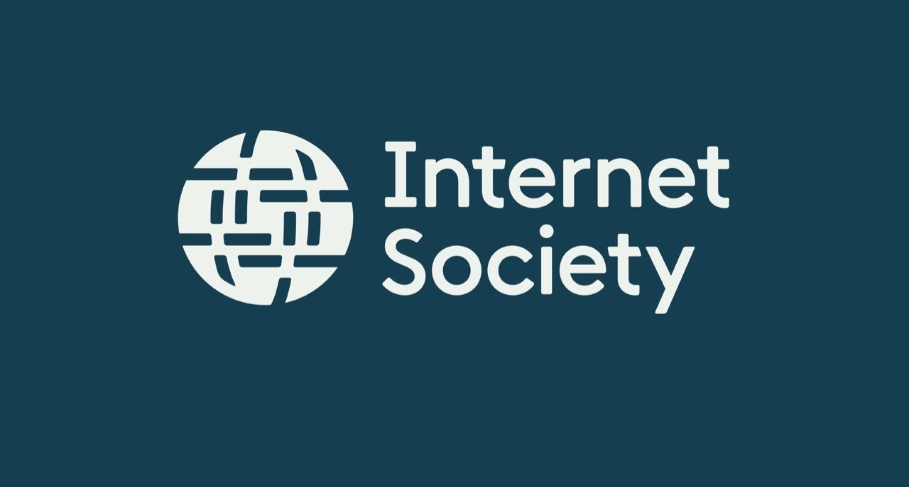 White ISOC logo on dark teal