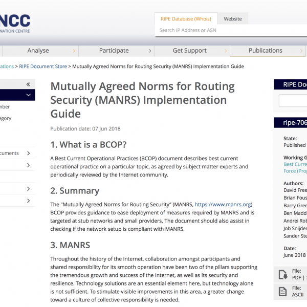MANRS BCOP published as RIPE document
