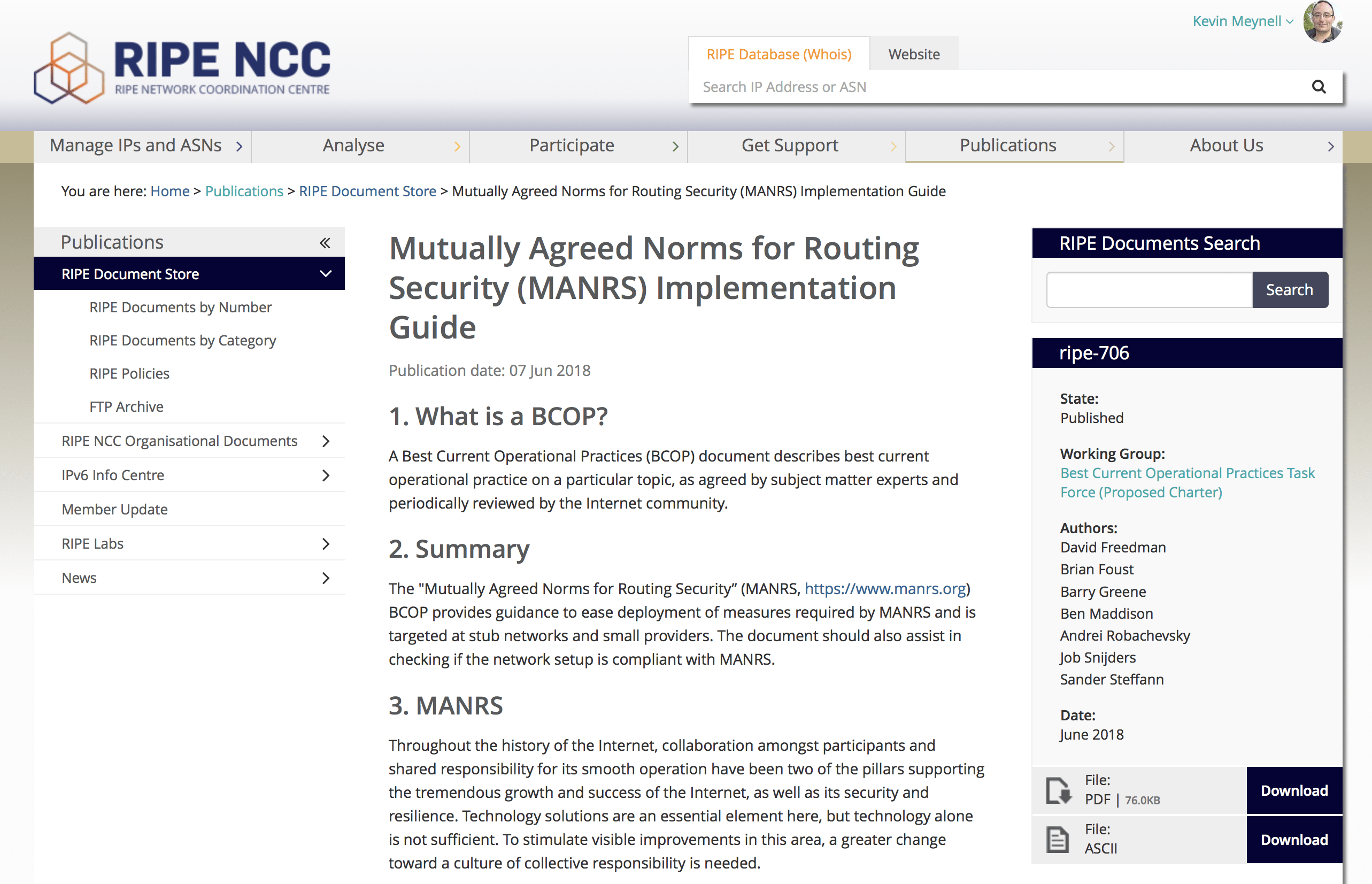 MANRS BCOP published as RIPE document Thumbnail