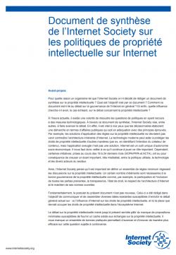 Document de synthèse de l'Internet Society sur les politiques de propriété intellectuelle sur Internet thumbnail