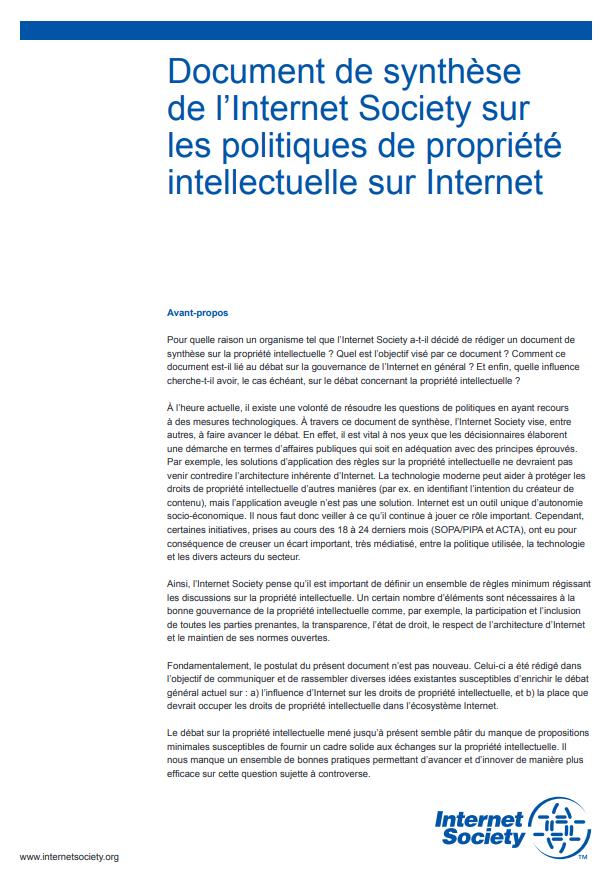 aafe27d6bbe Document de synthèse de l Internet Society sur les politiques de propriété  intellectuelle sur Internet