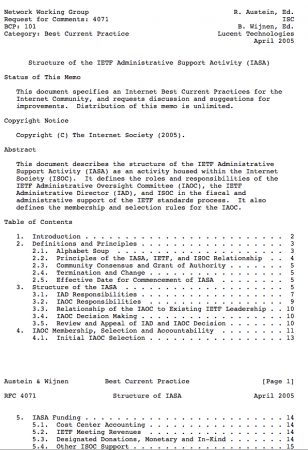 RFC 4071 Defines the IETF Administrative Support Activity (IASA)