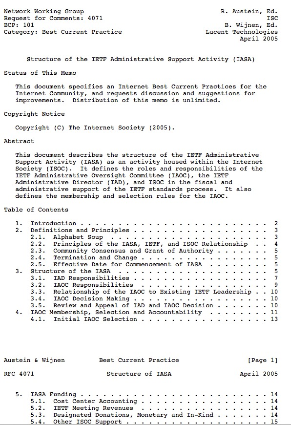 RFC 4071 Defines the IETF Administrative Support Activity (IASA) Thumbnail