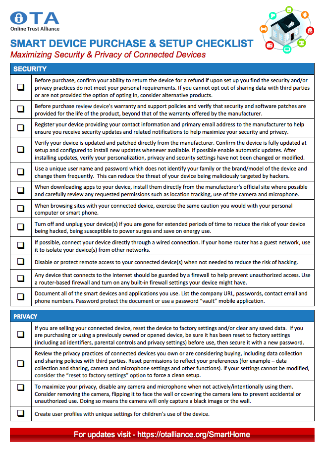 Smart and Connected Devices Security & Privacy Checklist