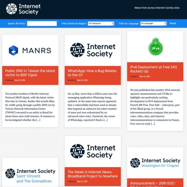 Announcing news.internetsociety.org – a way to follow what is published across all Internet Society sites Thumbnail