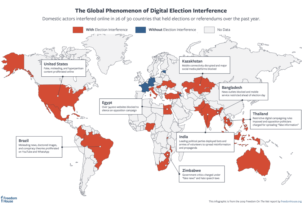 fotn-election-map Social Media Disaster Drives Ongoing Decline In International Web Freedom