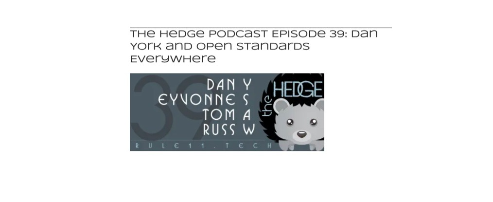 logo from the Hedge podcast episode 39 featuring Dan York and open standards everywhere